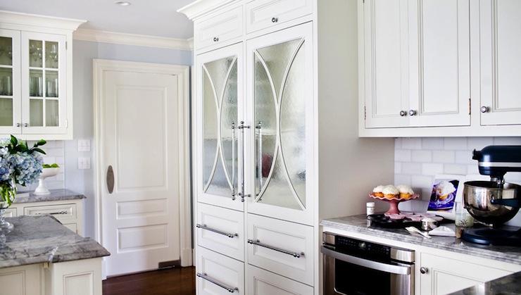 Mirrored Refrigerator Doors Transitional Kitchen