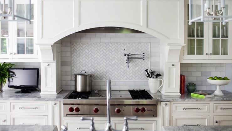 Marble Herringbone Backsplash Transitional Kitchen Morgan Harrison
