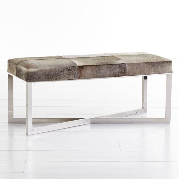 Seating - Crosshair Hide Bench | Wisteria - cowhide bench, hide bench, hide bench with steel frame, stainless steel hide bench,