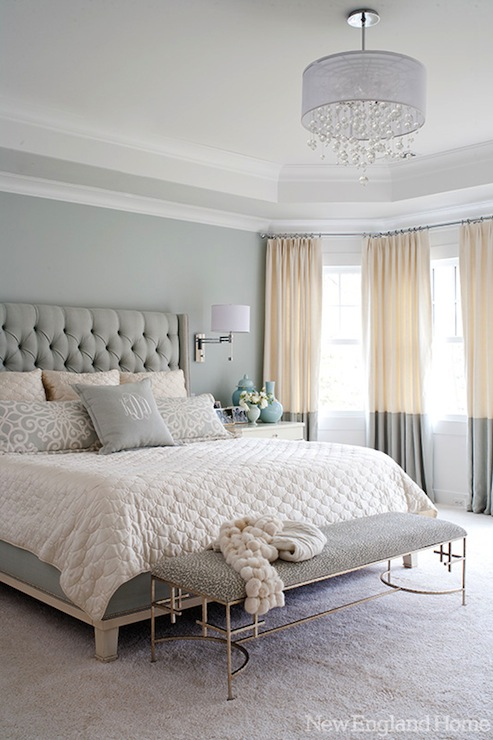 two tone drapes contemporary bedroom new england home. Black Bedroom Furniture Sets. Home Design Ideas