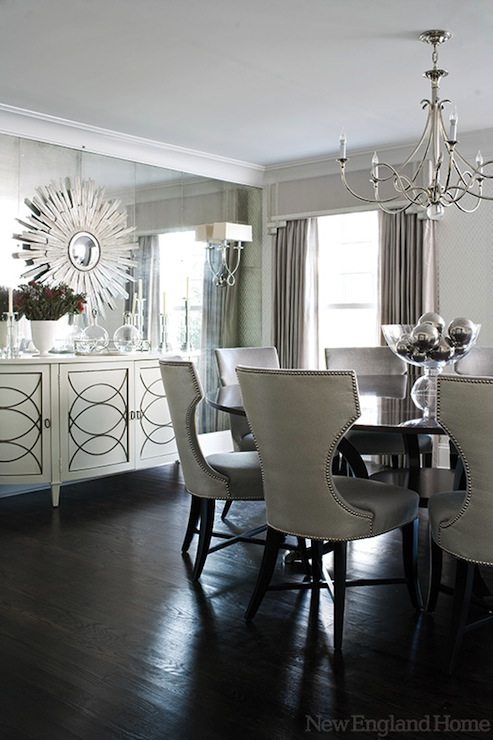 Floor to ceiling mirror contemporary dining room new for New england dining room ideas