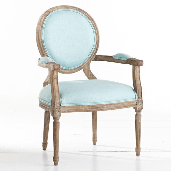 Seating - Louis XVI End Chair - Aqua | Wisteria - louis end chair. aqua louis end chair, aqua blue end chair,