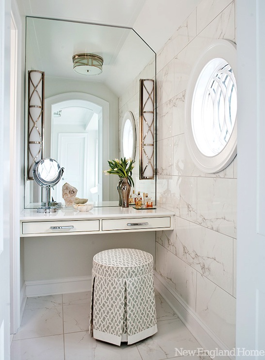 Floating vanity transitional bathroom new england home for New england style bathroom ideas