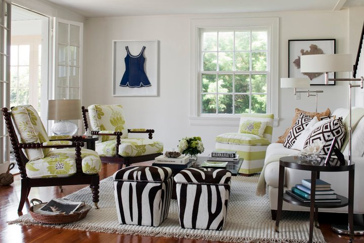 Zebra ottomans transitional living room kate jackson for Living room ideas zebra
