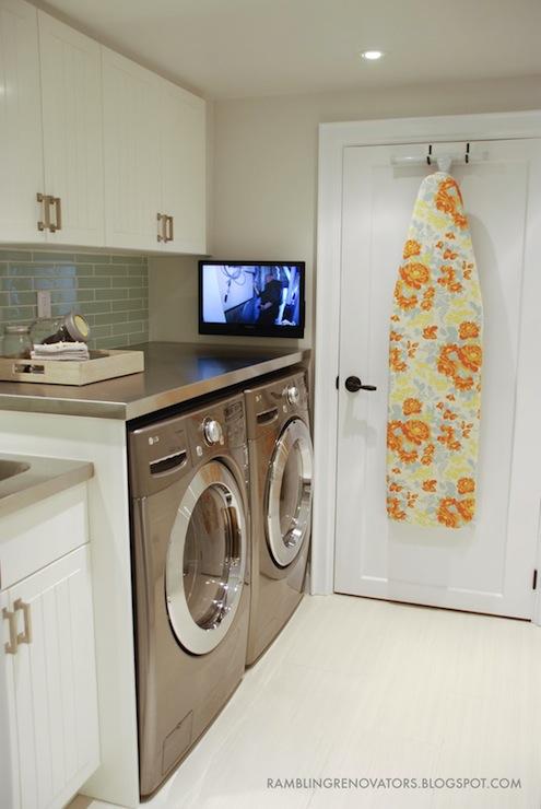 Ikea Akurum Cabinets Contemporary Laundry Room