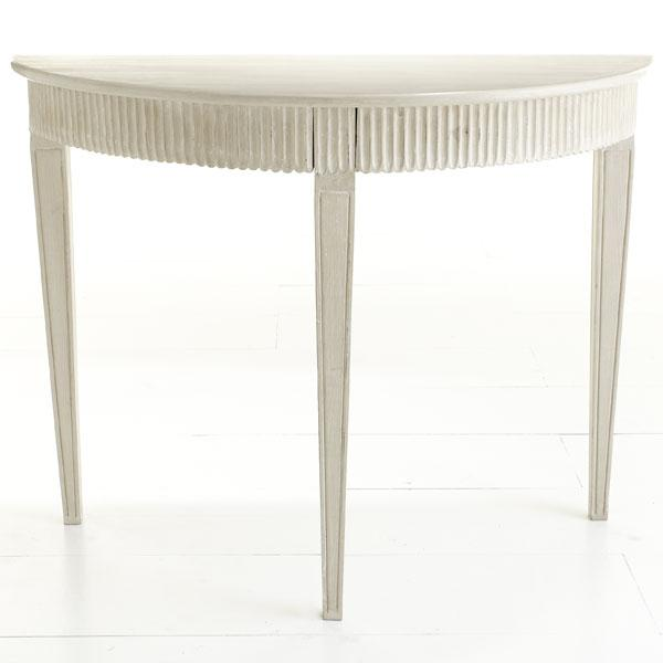 Swedish demilune console ivory wisteria White demilune console table