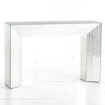 Tables - Beveled Mirror Console | Wisteria - mirrored console table, mirrored console, beveled mirror console,