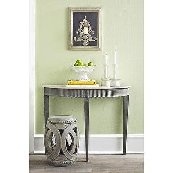 Tables - Swedish Demilune Console | Wisteria - swedish demilune console table, gray demilune console table, gray swedish console table,