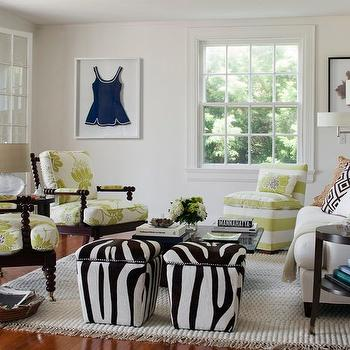 Zebra Ottomans, Transitional, living room, Kate Jackson Design