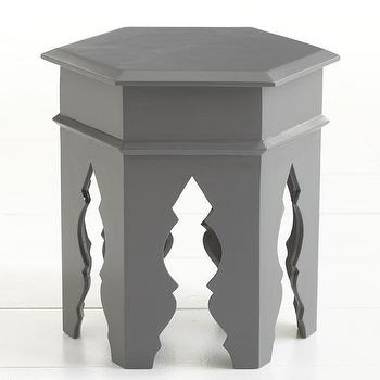 Tables - Moroccan Stool - Gray | Wisteria - gray Moroccan stool, gray Moroccan table, Moroccan side table,