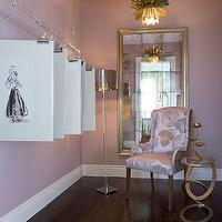 Coddington Design - closets - Her closet, glam closet, girly closet, girly modern closet, traditional closet, vintage mirror, large mirror, glam mirror, vintage chair, chair, closet chair, side table, gold side table, silver floor lamp, polished nickel floor lamp, wood floor, lotus pendant, gold lotus pendant, pendant, Coddington Design, Melanie Coddington, flowering lotus pendant, lotus pendant, lotus chandelier, brass lotus pendant, brass flowering lotus pendant,