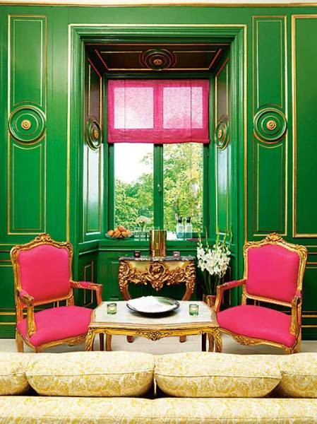 Pink and green room french living room for Green and pink living room ideas