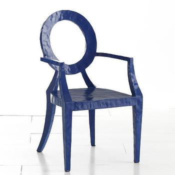 Seating - Updated Louis Chair - Blue | Wisteria - blue louis chair, modern louis chair, modern blue louis chair, metal louis chair,
