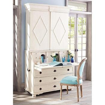 Storage Furniture - Swedish Diamond Secretary | Wisteria - swedish secretary, ivory secretary, secretary, cream secretary,