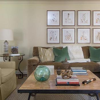 Brown and Green Living Room, Transitional, living room, EJ Interiors