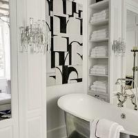 Veranda - bathrooms - dressing rooms, celebrity dressing rooms, bathroom dressing rooms, floor to ceiling cabinets, floor to ceiling closet cabinets, mirrored closet doors, freestanding tubs, floor-mount tub fillers, mirrored cabinets, built-in bathroom shelves, vertical bathroom shelves, lucite sconces, bathroom art, Waterworks Candide Freestanding Oval Cast Iron Bathtub,