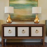 EJ Interiors - living rooms - credenza, table lamps, gold, art, side chairs, green and gold living room, green and gold room, gold and green living room,