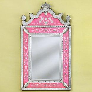 Medium Natashe Pink Venetian Wall Mirror, Simply Mirrors