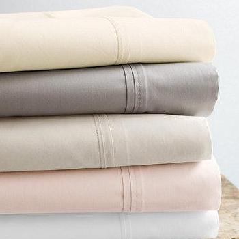 Bedding - Eileen Fisher Lustrous Cotton Sateen Sheets - Garnet Hill - combed cotton sheets, white sheets, pale pink sheets, ivory sheets, gray sheets, cream sheets, cotton sateen sheets,