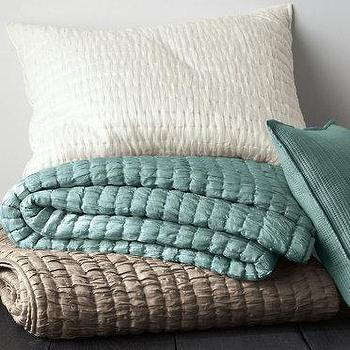 Bedding - Eileen Fisher Crushed-Silk Quilt Collection - Garnet Hill - crushed silk bedding, ruched silk bedding, ivory silk bedding, teal silk bedding, taupe silk bedding,