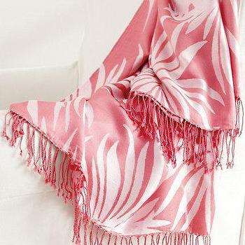 Decor/Accessories - Lilly Pulitzer Lush Life Silk Throw - Garnet Hill - pink silk throw, tropical pink throw, pink fringed throw, pink palm leaf throw,