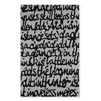 Rugs - script rug - chiasso - black script rug, black calligraphy rug, gray and black calligraphy rug,