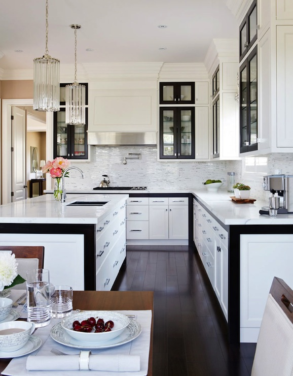 Black and white kitchen design contemporary kitchen for Kitchen designs modern white