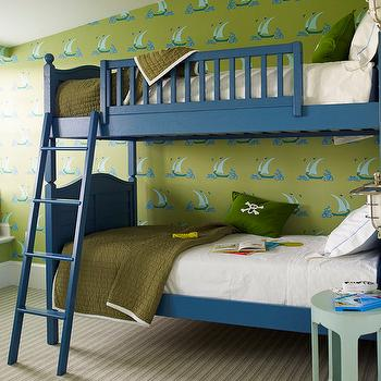 Katie Ridder - boy's rooms: blue and green boys rooms, blue and green boys bedrooms, blue bunk beds, blue ladders, blue bunk bed ladders, boys beds, boys bunk beds, boys bunk bed ladders, army green quilts, boys quilts, stitched bedding, boys bedding, bedding with stitching, white hotel bedding, window seats, boys window seats. boys bedroom window seats, boys wallpaper, boys bedroom wallpaper, green and blue wallpaper, sailboat wallpaper, green and blue sailboat wallpaper,