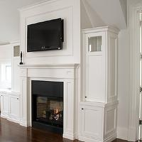 Designer Friend - bedrooms - traditional fireplaces, flatscreen TV over fireplace, tv over fireplace, tv above fireplace, flatscreen TV above fireplace, fireplace tv, fireplace built-ins, bedroom desks, built-in desks, bedroom offices, bedroom work spaces, bedroom work areas, tv over fireplace, built ins, tv built ins, tv built in cabinets, tv storage, fireplace tv built ins,
