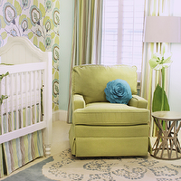 Lucy and Company - nurseries - gender neutral nursery, green and blue nursery, green gilder, apple green glider, blue and cream rug, blue and cream doily rug, white crib, traditional white crib, wallpaper accent wall, modern floral wallpaper, green and blue floral wallpaper, striped crib skirt, striped curtains, striped draperies, green and blue striped crib skirt, green and blue striped drapes, aqua blue walls, blue walls, white shutters, white plantation shutters, plantation shutters, flower floor lamp, kids floor lamp, daisy floor lamp, turquoise flower petal pillow, flower pillow, Restoration Warehouse Raquel Stool, Thomas Paul Tufted Pile Aqua Cream Doily Rug, nursery doily rugs, Restoration Warehouse Raquel Stool, Thomas Paul Tufted Pile Aqua Cream Doily Rug,