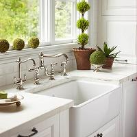 Caden Design Group - kitchens - vintage kitchen faucets, vintage faucets, farmhouse sinks, deep farmhouse sinks, extra-deep farmhouse sinks, dishwashers flanking sink, wood dishwashers, wood panel dishwashers, crackled subway tiles, crackled subway tile backsplash, topiary, kitchen topiary,