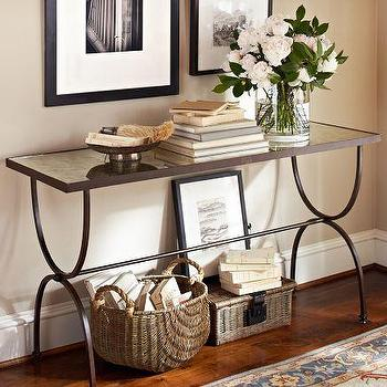 Tables - Willow Console Table | Pottery Barn - console table, antiqued mirror topped console table, mirror topped console table,