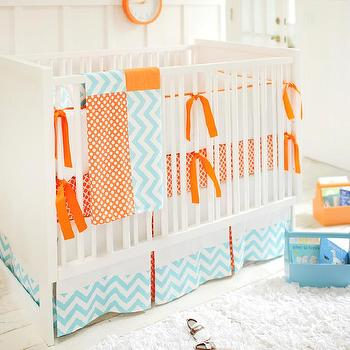 Blue and Orange Crib Bedding, Contemporary, nursery, New Arrivals Inc