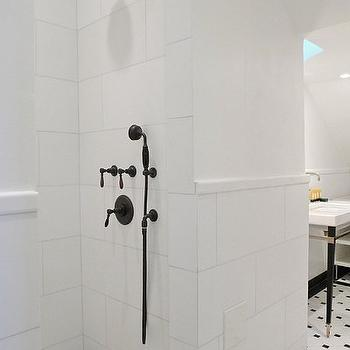 bathrooms - black and white bathrooms, black and white tiles, black and white bathroom tiles, open showers, black and white showers, oil-rubbed bronze shower kits, open showers, white and black floor tiles,