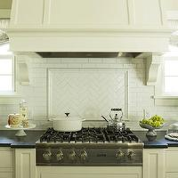 Martha O&#039;Hara Interiors - kitchens - kitchen hoods, wood paneled kitchen hoods, wood paneled hoods, wood kitchen hoods, herringbone backsplash, herringbone cooktop backsplash, kitchen herringbone backsplash, white kitchen cabinets, black granite countertops, gas cooktops, subway tile backsplash, kitchen topiaries, kitchen windows, kitchen corbels, cooktop backsplash, subway cooktop backsplash, herringbone backsplash, subway tile herringbone backsplash, subway herringbone backsplash, kitchen herringbone backsplash, herringbone kitchen backsplash, herringbone subway tile,