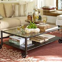 Tables - Robert Coffee Table | Pottery Barn - industrial coffee table, vintage factory cart coffee table, coffee table on castors,