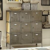 Storage Furniture - Arden Lockers | Pottery Barn - vintage lockers, vintage gymnasium lockers, metal lockers, industrial lockers,