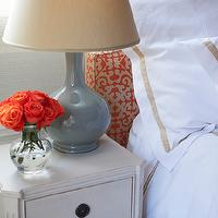 Jenny Wolf Interiors - bedrooms - red and gold headboards, patterned headboards, white hotel bedding, white and gold bedding, swedish nightstands, gray table lamps, glossy gray lamps, gray ceramic lamps, ceramic lamps, gray gourd lamps, gourd table lamps, gourd lamps,