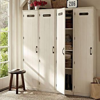 Storage Furniture - Modular Family Lockers | Pottery Barn - modular family lockers, locker storage, modular storage systems, entryway storage,