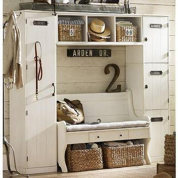 Storage Furniture - Locker Entryway System with Bench | Pottery Barn - modular storage, stackable lockers, modular storage system, entryway storage system, bench storage, entryway bench,