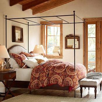 Beds/Headboards - Aberdeen Canopy Bed | Pottery Barn - canopy bed, iron canopy bed, canopy bed with upholstered headboard,