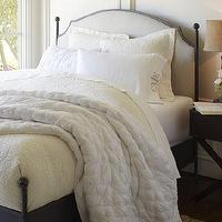 Beds/Headboards - Aberdeen Bed | Pottery Barn - iron bed, iron bed with upholstered headboard, linen upholstered headboard with iron bed frame,