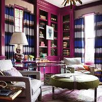 Atlanta Homes & Lifestyles - dens/libraries/offices - Benjamin Moore - Mulberry - jewel tone room, jewel tones, plum color, glossy plum color, glossy plum-pink color, glossy cabinetry, inkblot carpet, high gloss cabinetry, library, art in front of bookcases, wallpaper lining shelves, wallpaper backing bookshelves, styled bookcases, styled shelves, plum pink, plum, modern library, abstract art, framed abstract art, stacked books, bookcases, bookshelves, silver lamp, brass table, brass accent table, brass and glass accent table, vintage desk, desk, glass topped desk, vintage chairs, vintage chair, Milo Baughman chair, mid-century ottoman, green mid-century ottoman, round green mid-century ottoman, striped drapes, striped curtains, nailhead valance, sunburst chandelier, brass chandelier, vintage chandelier, striped curtains, striped drapes, horizontal striped curtains, horizontal striped drapes, home office, home library, library,