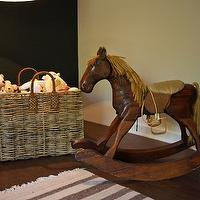 Scout for the Home - nurseries - rocking horse, rustic rocking horse, small rocking horse, wooden rocking horse, woven basket, basket, square basket, floor basket, toys, bears, striped rug, striped gray rug, ivory and gray striped rug, hardwood floors, nursery, nursery rocking horse, boys rocking horse,