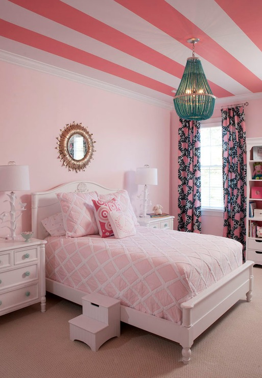 Pink girl 39 s room transitional girl 39 s room benjamin moore touch of pink liz carroll interiors - Beautiful rooms for little girls ...