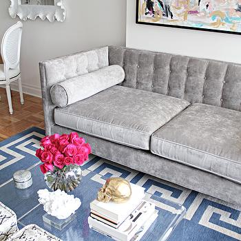 Blue Greek Key Rug, Contemporary, living room, Made by Girl