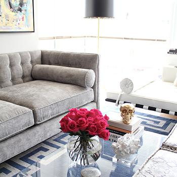 Gray Velvet Sofa, Contemporary, living room, Made by Girl