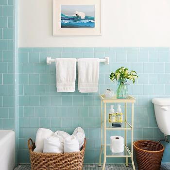 Blue subway tile vintage bathroom rue magazine