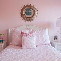 Liz Carroll Interiors - girl's rooms - Benjamin Moore - Touch of Pink - pretty girls room, pink girls room, soft pink walls, light pink walls, pale pink walls, girls room, ivory headboard, ivory colored headboard, pink quilt, pink diamond quilt, pink euro shams, pink pillows, swirly pink pillow, pink accent pillows, monogrammed pink and ivory pillow, monogrammed pillow, matching nightstands, ivory nightstands, cream nightstands, whimsical branch lamps, white branch lamps, kids lamps, doll, antiqued gold sunburst mirror, antiqued mirror, sunburst over bed, sunburst mirror over headboard, beaded chandelier, tuquoise beaded chandelier, turquoise beaded pendant, framed photos, aqua hardware, aqua knobs, aqua drawer pulls,