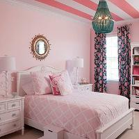 Liz Carroll Interiors - girl's rooms - Benjamin Moore - Touch of Pink - pretty girls room, pink girls room, soft pink walls, light pink walls, pale pink walls, girls room, white bed, white headboard, pink quilt, pink diamond quilt, pink euro shams, pink pillows, swirly pink pillow, pink accent pillows, monogrammed pink and ivory pillow, monogrammed pillow, matching nightstands, white nightstands, whimsical branch lamps, white branch lamps, kids lamps, antiqued gold sunburst mirror, antiqued mirror, sunburst over bed, sunburst mirror over headboard, beaded chandelier, tuquoise beaded chandelier, turquoise beaded pendant, framed photos, aqua hardware, aqua knobs, aqua drawer pulls, pink and black floral drapes, pink and black drapes, pink and black floral curtains, tall white bookcase, white stool, white stepping stool,